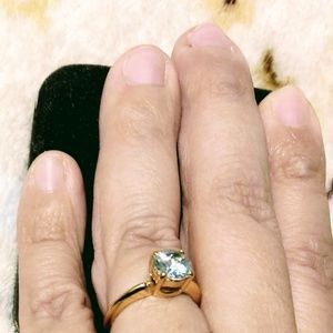Jewelry - Gold polished ring with cubic zirconia stone